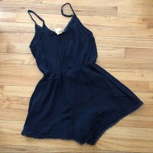 Navy Small Lace Detail Romper